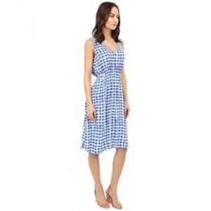 Kate Spade Island blue stamp dot dress M